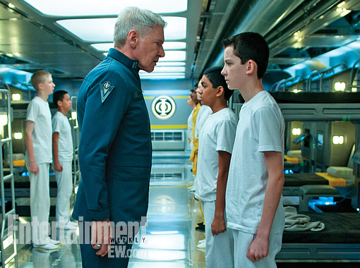 Ender's Game Movie still. Asa Butterfield Harrison Ford Colonel Graff Ender